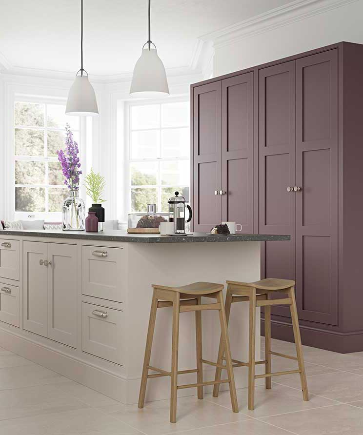Modern Kitchen in Cashmere & Aubergine