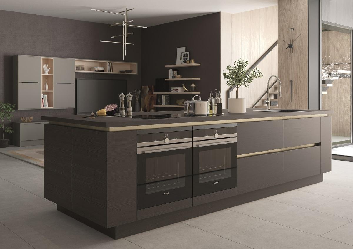 Kitchen island inspiration - Feature handleless kitchen island in dark grey