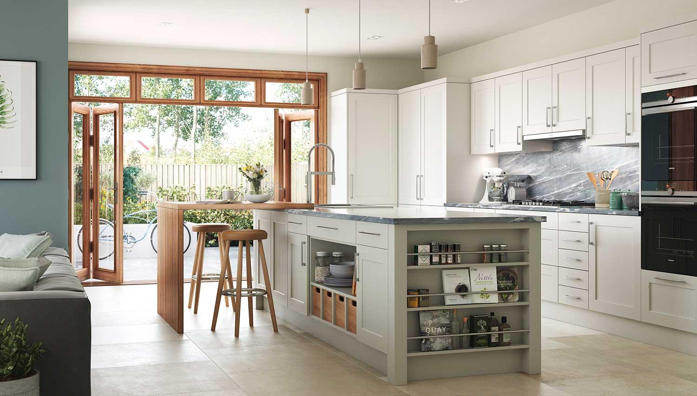 Bridgwater classic shaker kitchen shown in Chalk White _ Light Fern