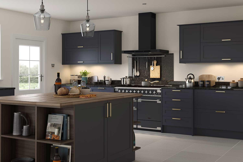 Cambridge slim line shaker kitchen shown in Indigo Blue