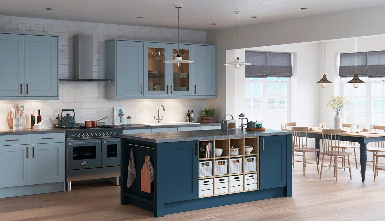Charnwood classic shaker kitchen shown in Denim Blue _ Dusk Blue