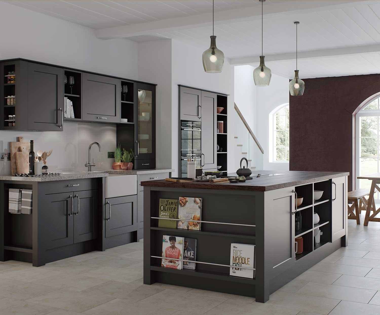 Charnwood classic shaker kitchen shown in Diamond Grey