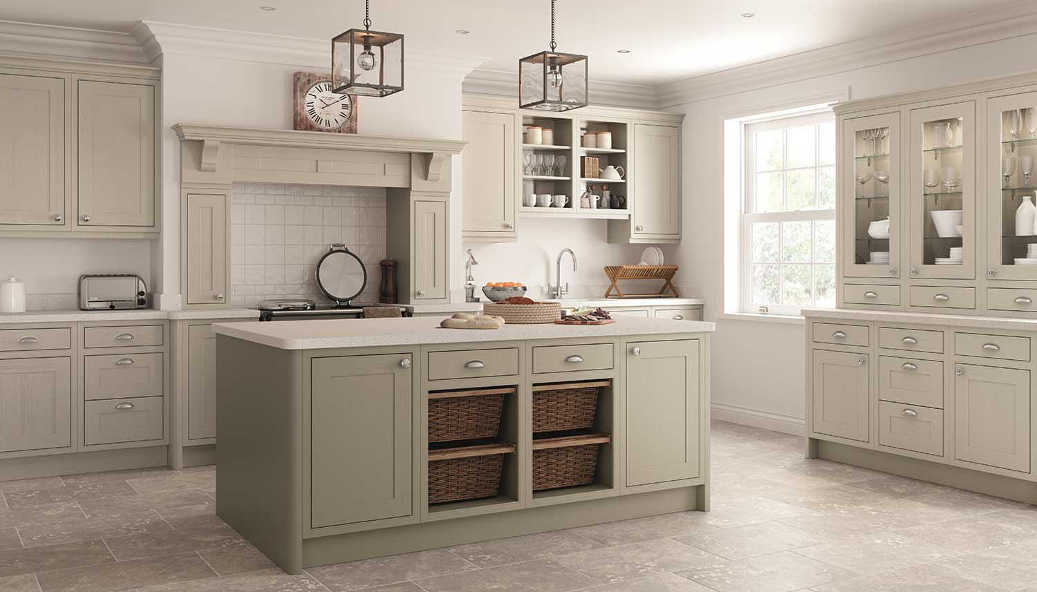 Classic Painted Shaker kitchen shown in Caffe Latte _ Pebble