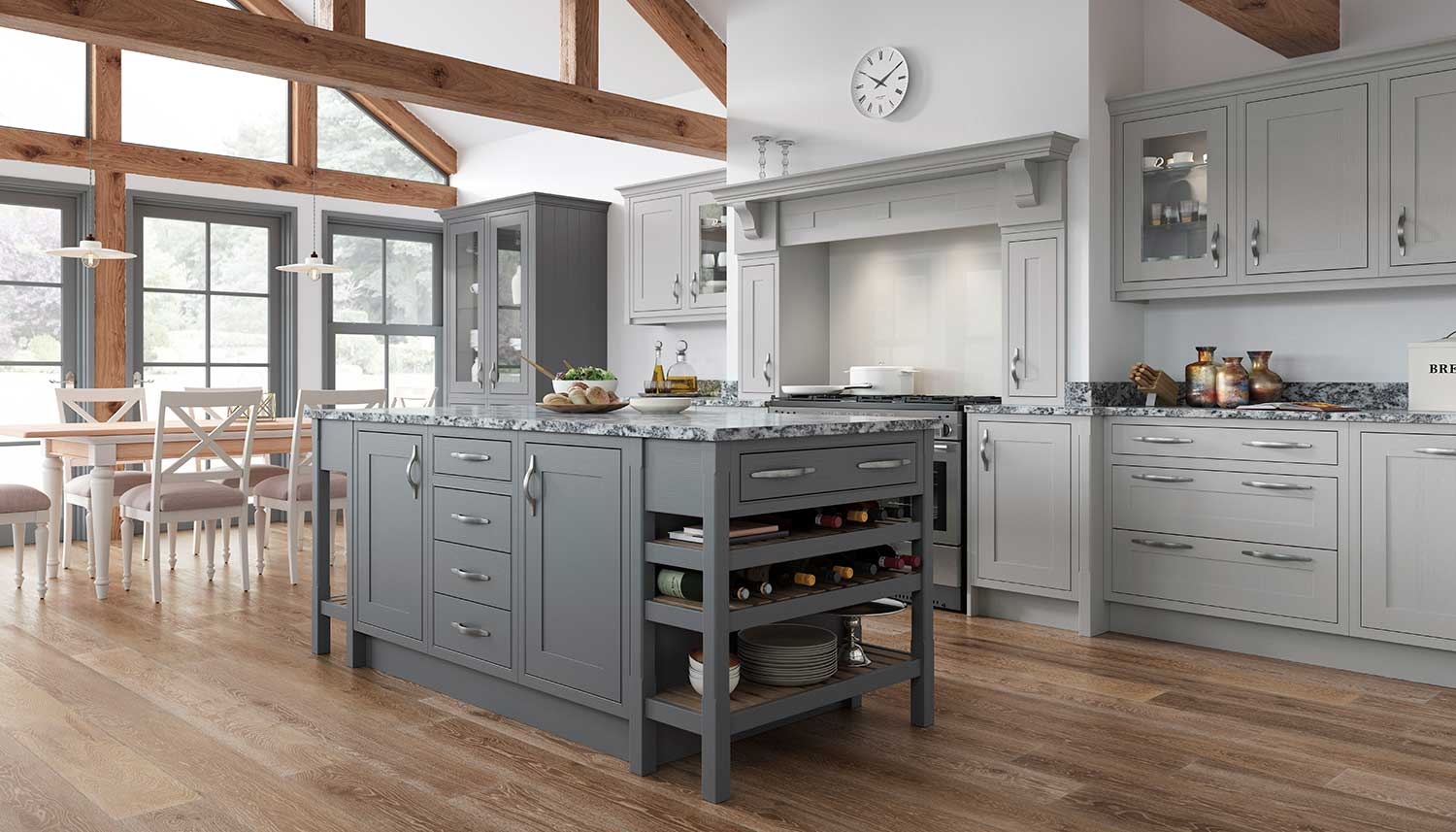 Classic Shaker kitchen shown In Cadet Grey _ Pale Grey
