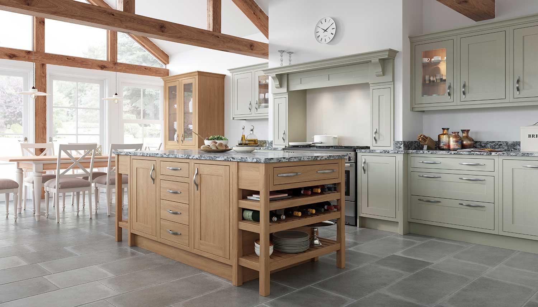 Classic Shaker kitchen shown in Light Fern _ Natural Oak