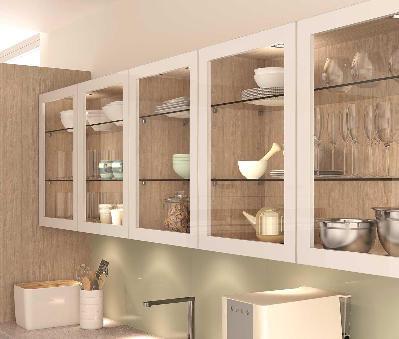 Contemporary Glazed Kitchen Wall Units