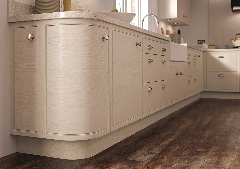 Curved Wooden End Base Kitchen Cabinet
