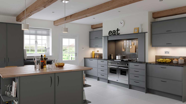 Ely slim line shaker kitchen shown in Cadet Grey