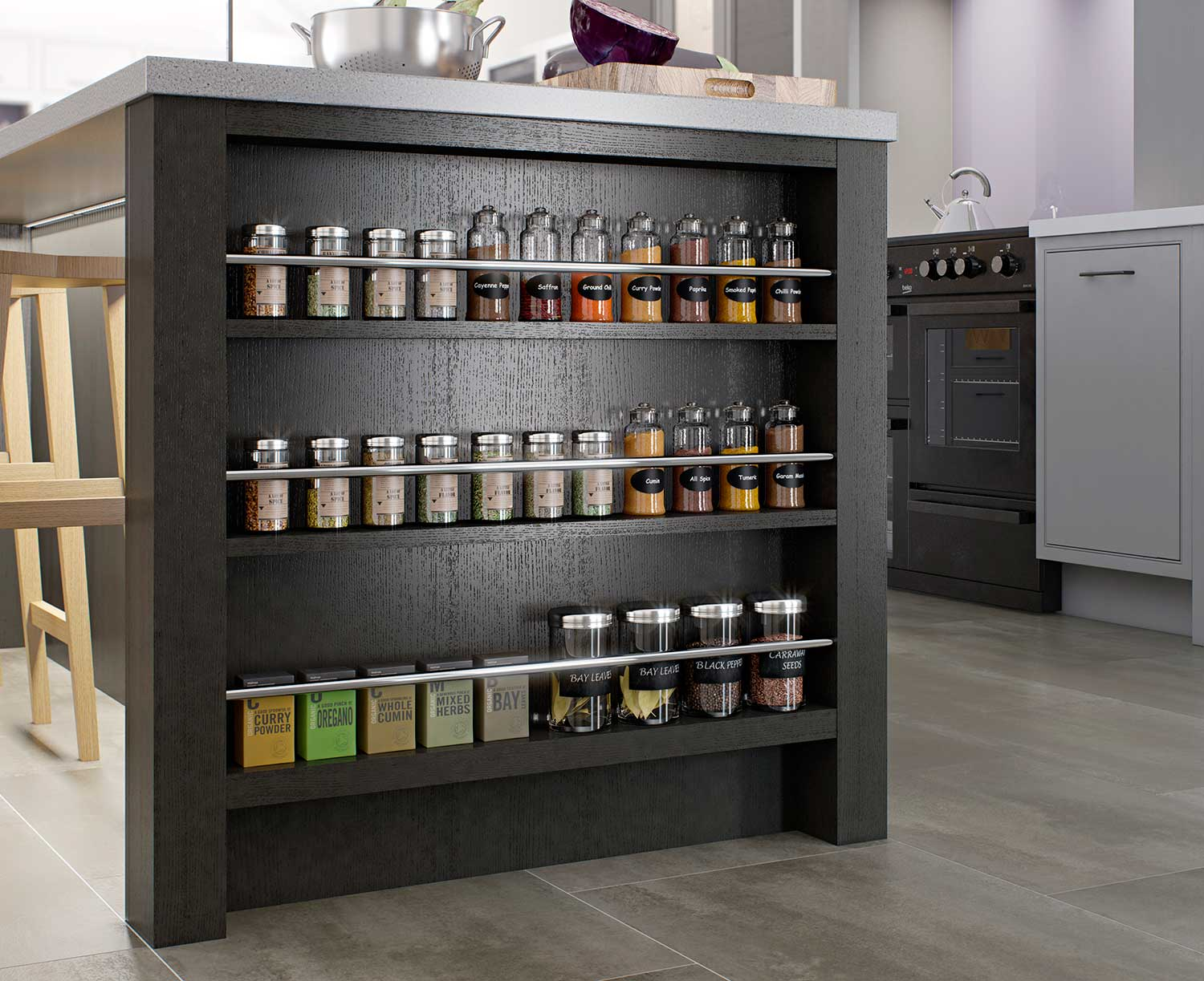 Feature Kitchen Island Spice Rack End Cabinet