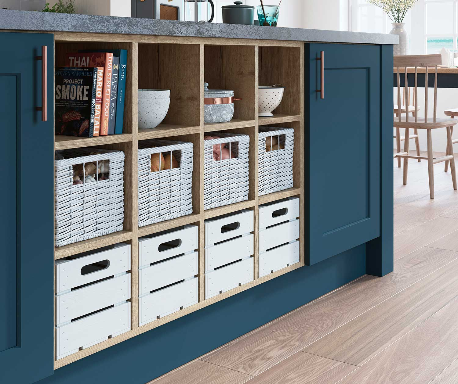 Feature kitchen island Open Display Base With A Choice Of Storage Inserts