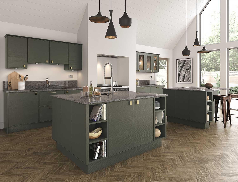 Futura (Ely) modern kitchen shown in Midnight Green