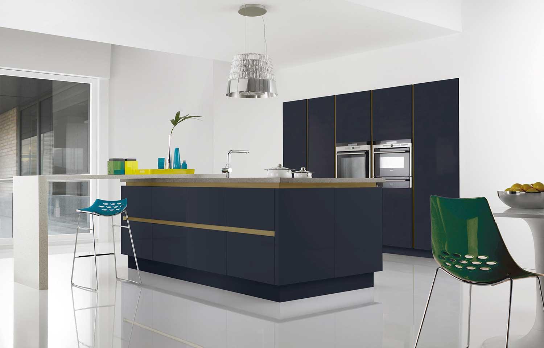 Futura modern kitchen shown in Indigo Blue Soft Matt