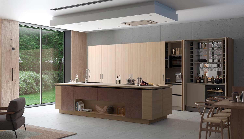 Futura modern kitchen shown in Springfield Light Oak _ Oxidised Amber