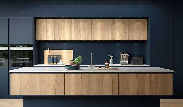H-Line Hampton Oxford Blue Mayfield Oak Contemporary Kitchen