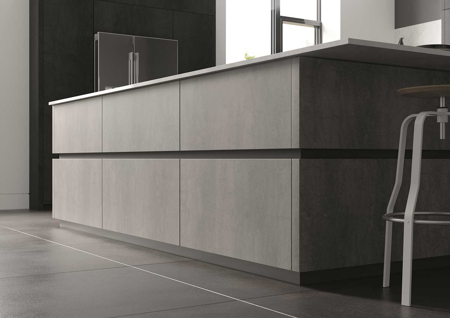 Handleless C-Line Style Feature Kitchen Island in Ceramic