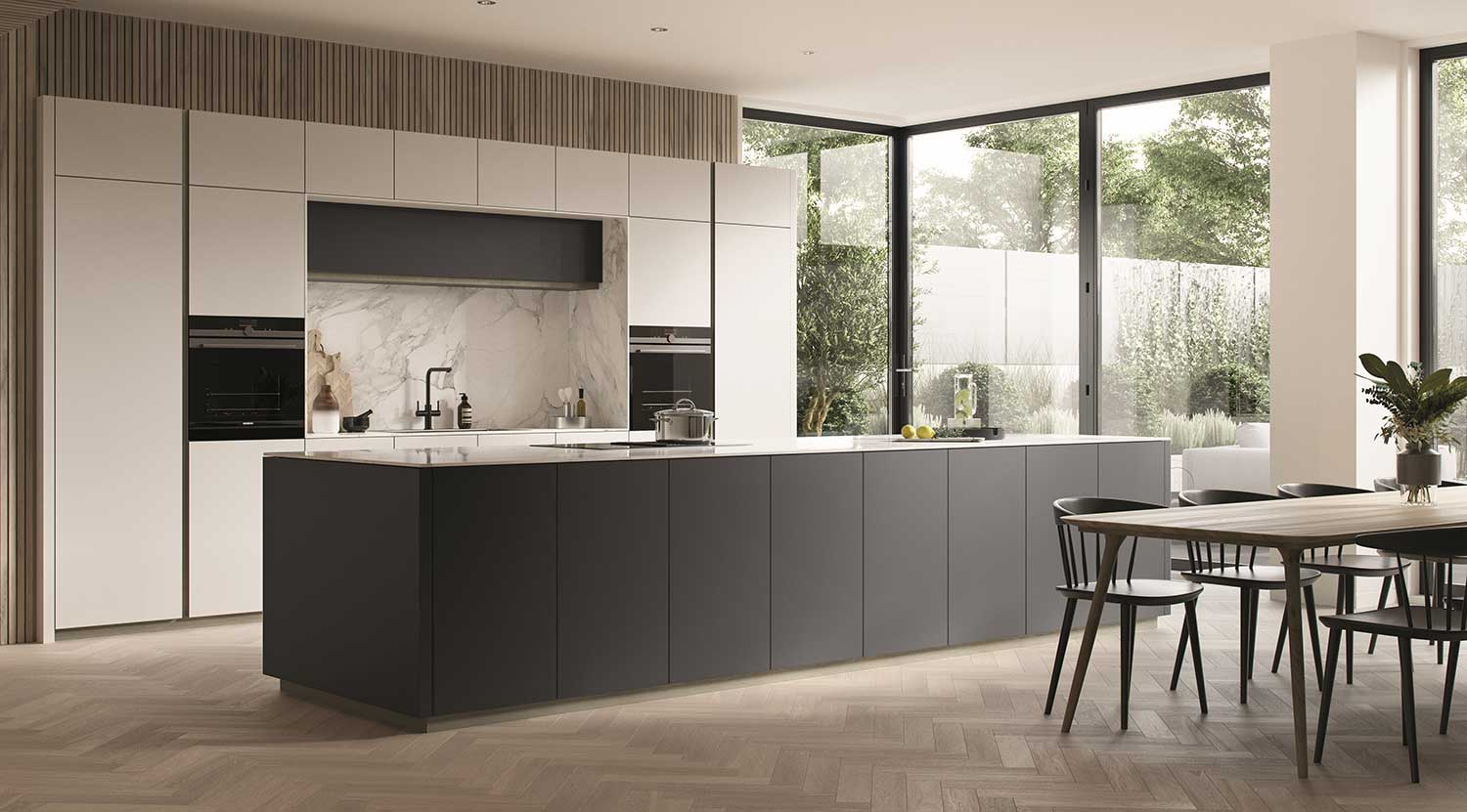 Handleless kitchen Q-Line shown in Bianca Satin Face Grafite Polished Face