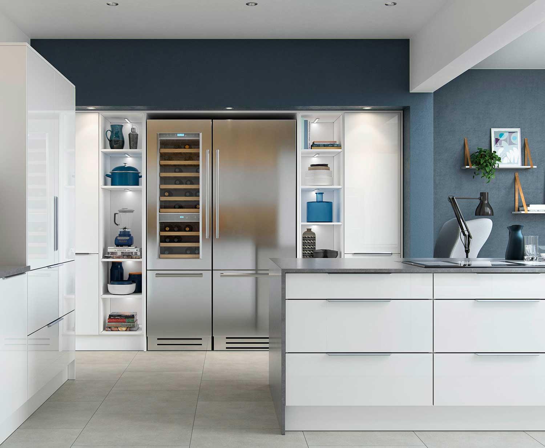 High gloss Feature Open Kitchen Shelves