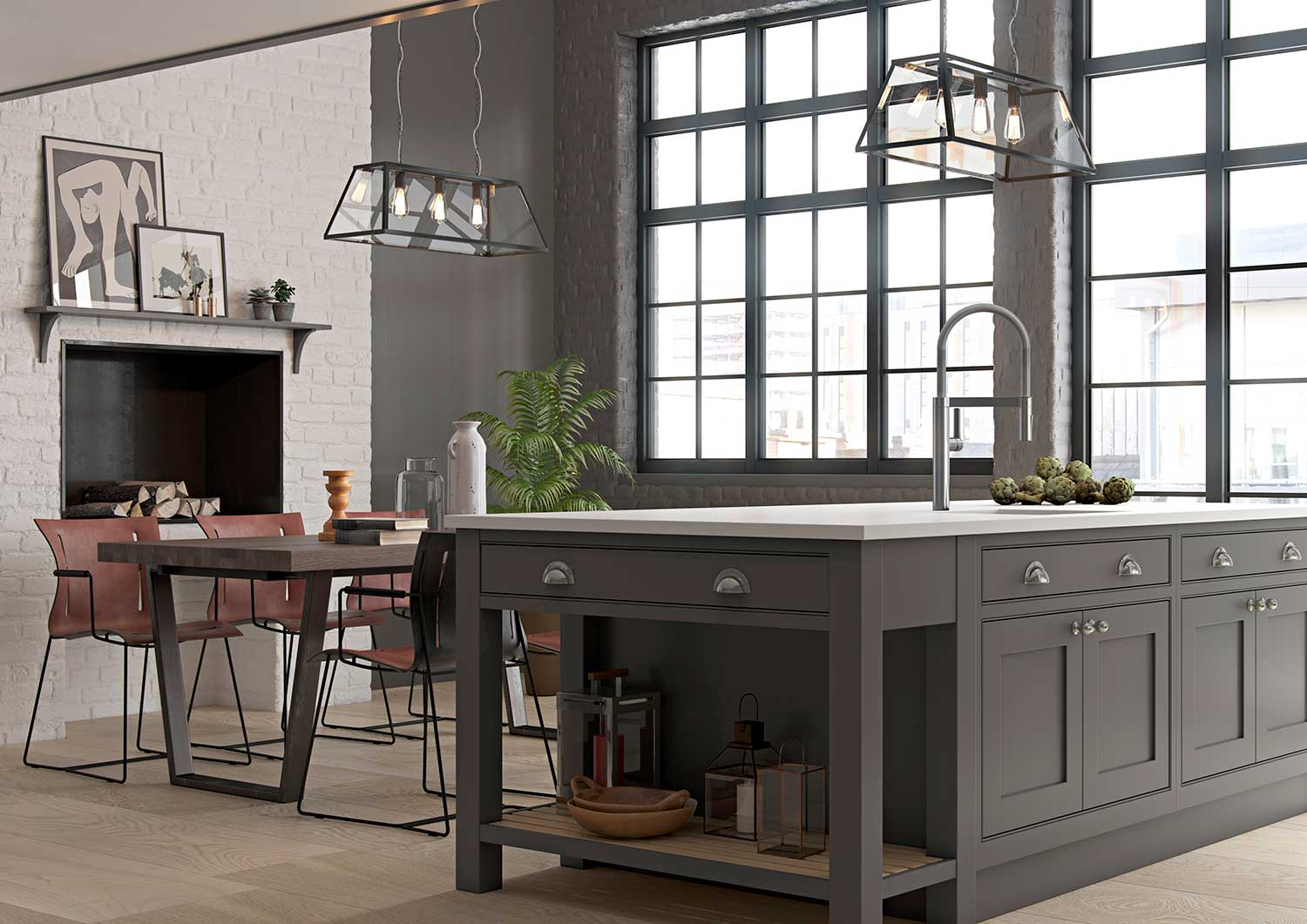 Kitchen Island With Feature End Shelf