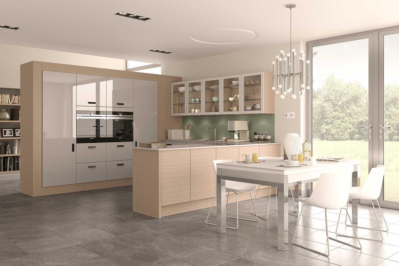 Lastra contemporary kitchen shown in Oak Light _ Light Grey Gloss