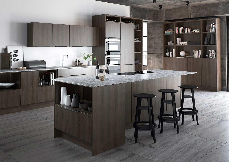 Lastra handleless kitchen shown in Sepia Gladstone Oak