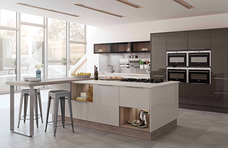 Lastra modern kitchen shown in Dark Cross-Cut _ Cashmere Gloss