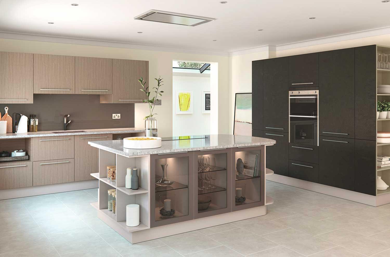 Lastra modern kitchen shown in Oak Dark _ Bronze