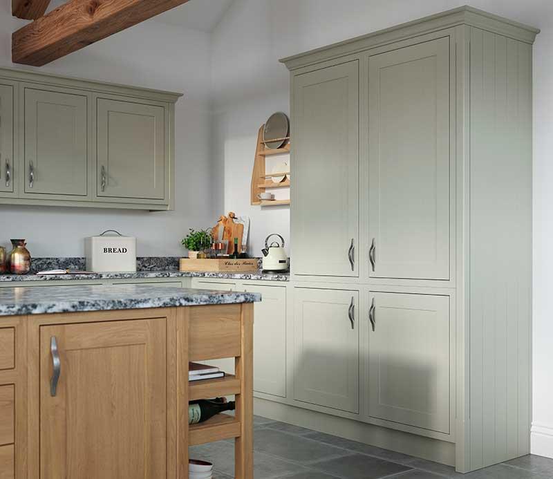 Modern Shaker Style Kitchen Light Fern & Natural Oak