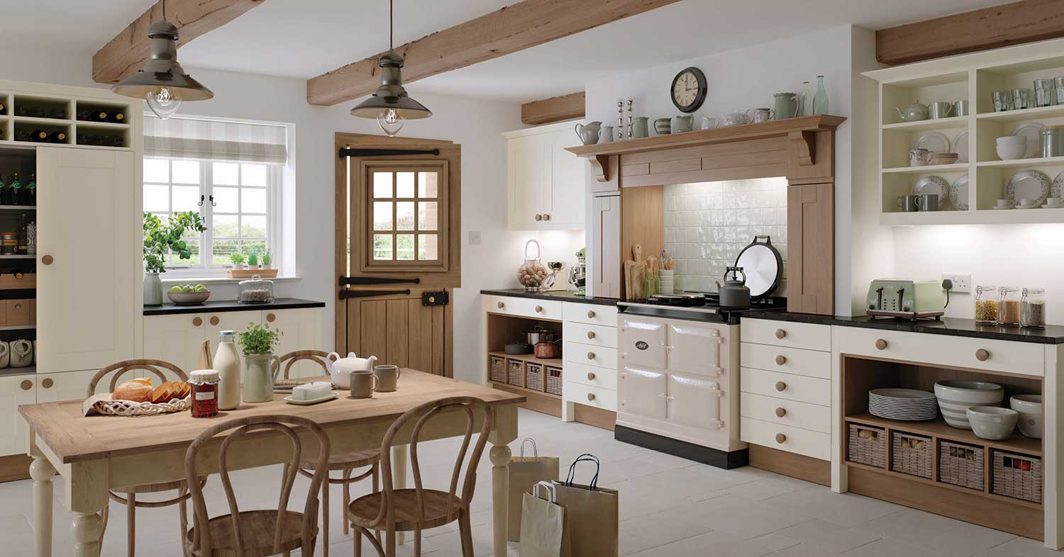 Lincoln classic shaker shown in Natural Oak and Ivory