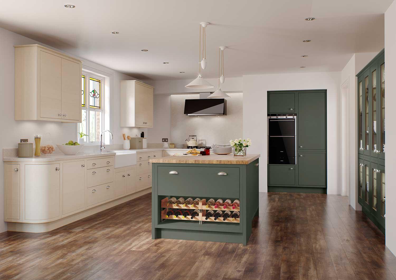 Modern Classic kitchen Shown in Midnight Green _ Mussel