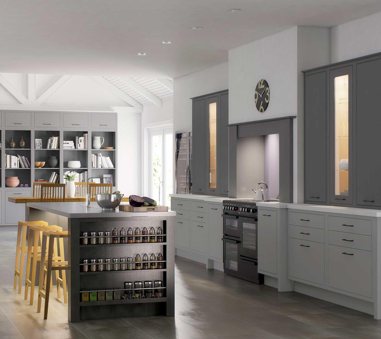 Modern Classic kitchen shown in Cadet Grey, Castle Grey _ Anthracite Grey