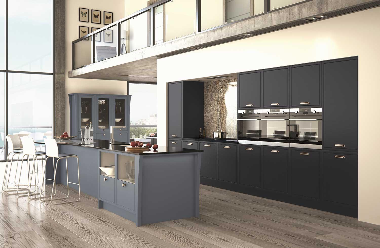 Modern Classic kitchen shown in Indigo Blue _ Priory Blue