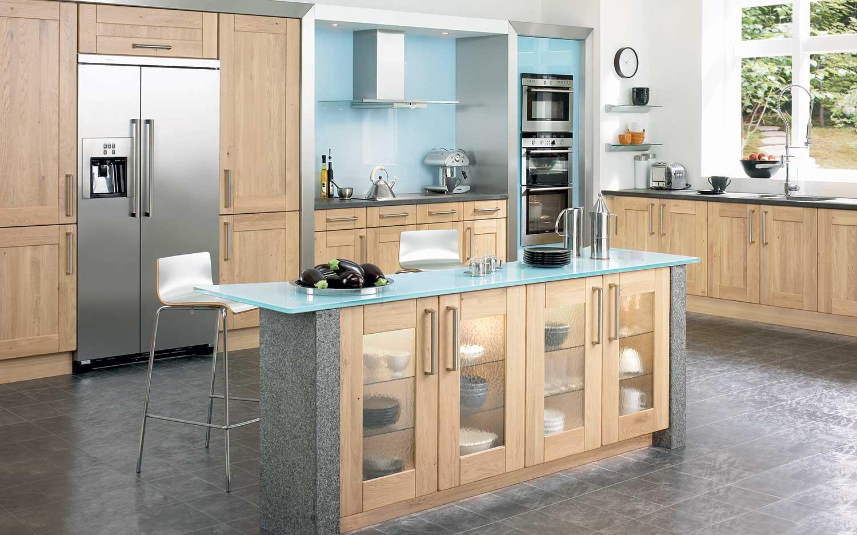 Redmond shaker kitchen shown in Light Oak