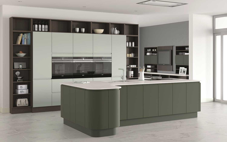 Segreto handleless kitchen shown in Sea Green, Midnight Green _ Natural Walnut