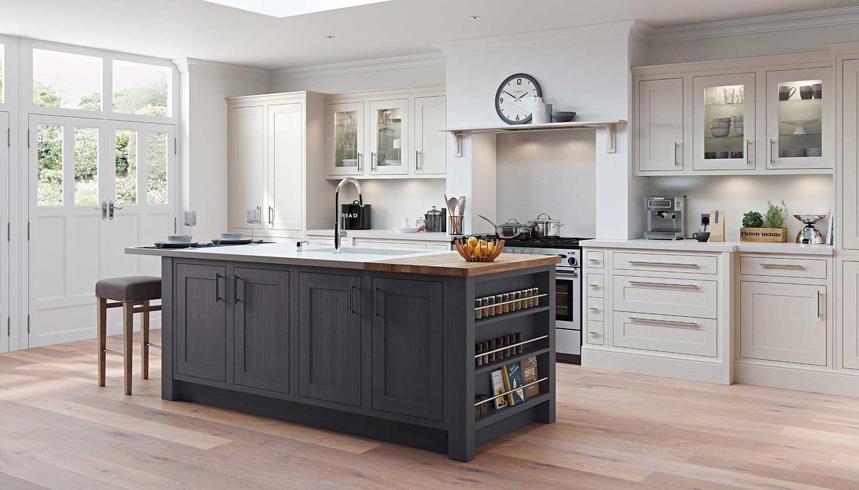Shaker kitchen shown in Chalk White _ Gun Metal Grey