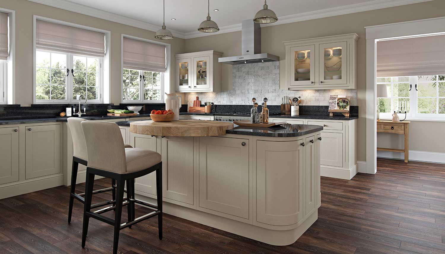 Shaker kitchen with feature island shown In Mussel