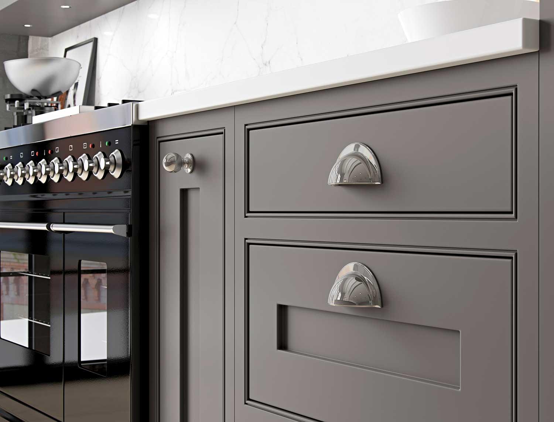Shaker kitchen Door and Handle Detail in grey