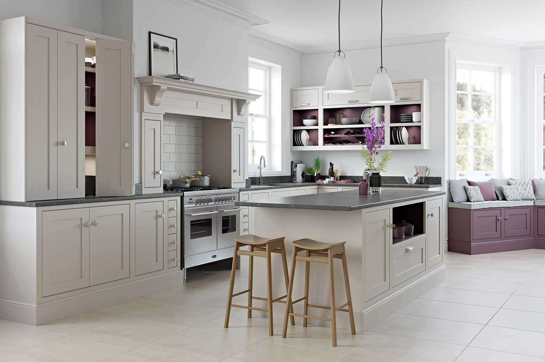 Signature shaker kitchen shown in Cashmere _ Aubergine