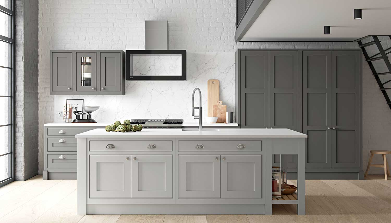 Signature shaker kitchen shown in Diamond Grey and Light Grey