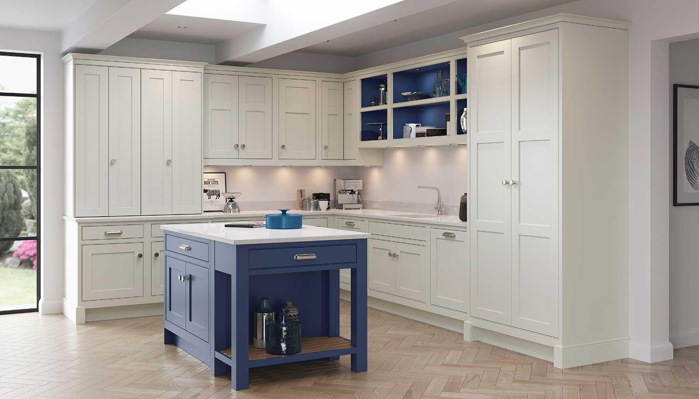 Signature shaker kitchen shown in Light Grey _ Tryolean Blue