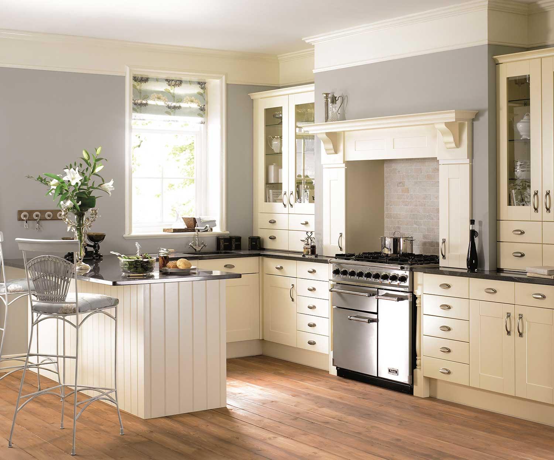 Virginia shaker kitchen shown in Ivory